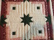 2 Vintage Americana Quilted/patched Star/cross Small Blankets34x34.
