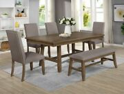 New 5pc Weathered Brown 42 X 72 Table And 4 Chairs Dining Room Rustic Farmhouse
