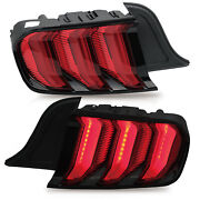Customized Red Full Led Taillights W/ Sequential Turn Sig. For 15-20 Mustang