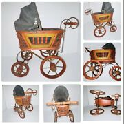 Antique Victorian Baby Doll Pram Buggy With Canvas Canopy Metal And Wood Wheels