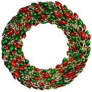 4and039 Red Green And Silver Christmas Light Bulb Wreath Decor