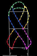 6' Rainbow Multi-color Lgbt+ Pride Awareness Ribbon Ground Mount Lit With Leds