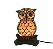 Owl Corded Stained Glass Lamps Home Lighting Night Light Gift