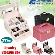 Jewelry Storage Organizer Box Pu Earring Ring Earring Necklace Display Cabinet