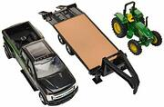 46630 John Deere Tractor W Ford F-350 And Gooseneck Trailer Hauling 132 Scale Set