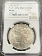 M13953- 1923 Vam-1a2 Whisker And Crack Peace Dollar Ngc Ms65 Pop 7/0 Finest Known