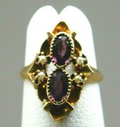 Antique 10k Yellow Gold 30pt Amethyst Seed Pearl Accent Ring 2.4 Grams Size 2