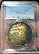1993-p Ase 1 Pcgs Pf64dcam Proof Silver Eagle Heavy Rainbow Beautiful Toning