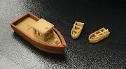 Outland Models Railroad Scenery Large Fishing Boat W 2 Small Boats Ho Scale 187