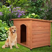43 Waterproof Wood Large Dog House Slant-roofed Kennel Cabin Pet Cage Outdoor