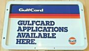 Vintage Original Gulf Oil Co Double Sided Metal Topper Sign In Plastic Frame