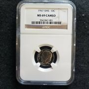 1967 Clad Sms Roosevelt Dime Ngc Ms69 Cameo Price Slashed