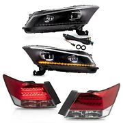 Free Shipping To Pr For 08-12 Honda Accord Led Headlights+red Clear Tail Lights