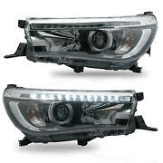 Free Shipping To Pr For 16-19 Toyota Hilux Led Headlights W/drl Sequential
