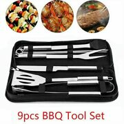 9pcs Stainless Steel Bbq Tools Set Grill Cookware Utensils Outdoor Barbecue Tool