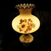 Vintage Gone With The Wind Lamp Hand Painted Rose Sun Flower Milk Glass Globe