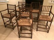 Set Of 6 Country French Antique Ladderback Rush Seat Chairs