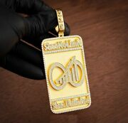 2.18 Ct Round Simulated Diamond Men's Custom Dog Tag Name Pendant In 925 Silver