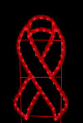 6' X 3' Red Garland Awareness Ribbon Ground Mount Lit With Leds