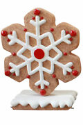 41 Red Gingerbread Winter Snowflake Christmas Statue Holiday Display Style 4