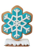41 Iced Aqua Gingerbread Winter Snowflake Christmas Statue Holiday Style 2