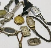 Vintage Art Deco Ladies Watches - Lot Of 7 Watches For Parts, Scrap Or Repair