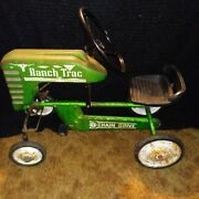 Rare Green Vintage Metal Ranch Trac Pedal Tractor Toy Car Ride On Machinery