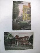 Lot Of 2 Early Nelsonville Ohio Color Postcards 1915 High School And Columbus St