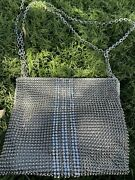 Vtg Franchi Silver Rhinestone And Metal Rectangle Evening Bag W/adjustable Chain