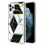 For Apple Iphone 11 Pro Black Marble Hard Tpu Hybrid Electroplated Case Cover