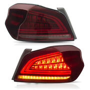 Customized Red Led Tail Lights With Sequential Turn For 15-19 Subaru Wrx / Sti