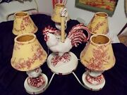 Vintage French Country Ceramic Rooster And Chicks Hanging Chandelier And Shades