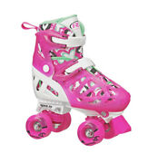 Roller Derby Trac Star Youth Girl's Adjustable Roller Skate White/pink Size2-12