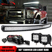 For 99-15 Ford F250 F350 Super Duty 52 Curved Led Light Bar +4'' Pods + Wiring