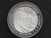1970s Freedom 7 Silver Art Medal Franklin Mint America In Space D8717
