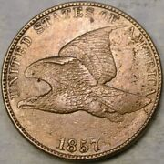 1857 Flying Eagle Cent Penny Rare Triple Die Obverse Appealing Features C Images