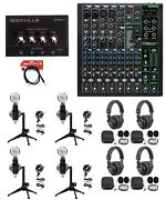 4-person Podcast Podcasting Recording Kit W/mackie Profx10 V3 Mixer+desk Stands
