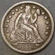 1853 O Liberty Seated Silver Dime Arrows And Rays Very Appealing Scarce Tough Date