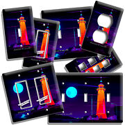 Colorful Lighthouse Starry Night Moon Light Switch Outlet Wall Plates Room Decor