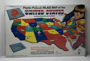 Vtg Hasbro 1967 Hassenfeld Bros. Plastic Puzzle Inlaid Map Of The Us New Sealed