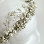 Vintage Halo And Co Ivory Pearl Beaded Flapper Bridal Headpiece Wedding Crown