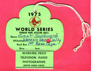 Rare 1975 World Series Press Pass-famous Carlton Fisk Hr-red Sox/reds