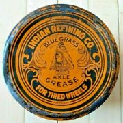 Vintage Original Indian Refining Company Blue Grass Axle Grease 3 Lb. Can -good