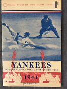 Vintage 1944 New York Yankees Official Program And [unused] Score Card Like New