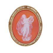 Banded Chalcedony Vintage Cameo Brooch/pendant - 14k Yellow Gold Silhouette