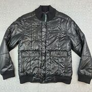 Howe Black Quilted Bomber Jacket Menand039s Large Green Accents