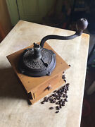 Antique Coffee Mill Grinder Colonial Wood Brass Works