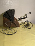"""Antique Toy Wrought Iron And Wood Tricycle 16"""" Length/ 11"""" Tall"""