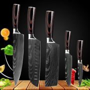 5 Piece Kitchen Chef Knife Set Damascus Pattern Stainless Steel Cutting Knives