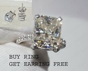 Buy 1 Ring And Get 1 Earring Free With All Moissanite In 14k White Gold Over